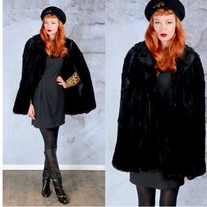 1940s black seared beaver fur cape ONE SIZE